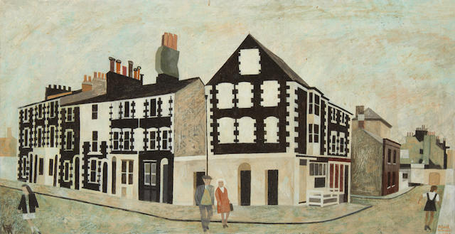 Alfred Daniels, RWS, RBA (British, born 1924) Flint and cobble houses, Brighton