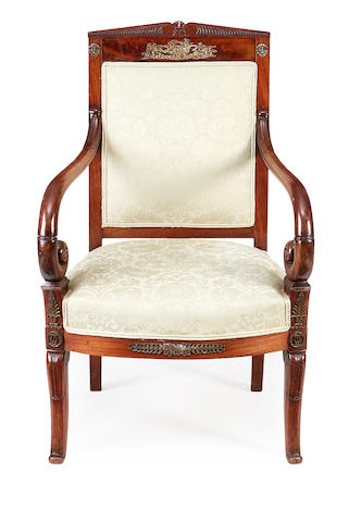 A Louis Philippe brass mounted mahogany armchair,