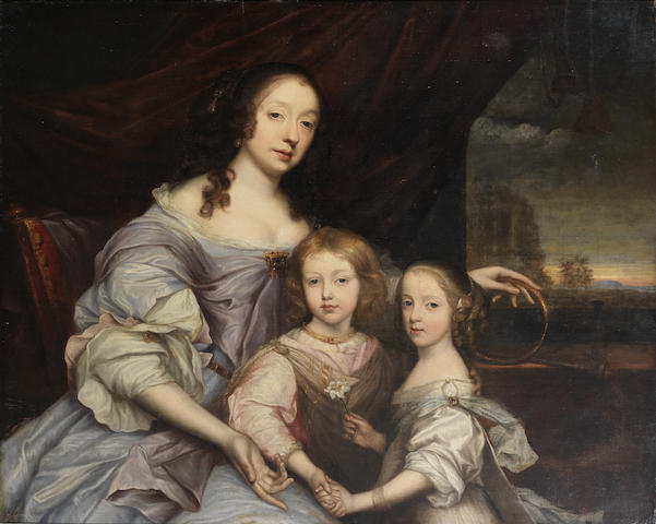 John Michael Wright (London 1617-1694) Portrait of Mary, Duchess of Lennox and Richmond with her children, Esme and Mary Stuart (alternatively identified as Elizabeth, Lady Churchill with her children, Winston and Arabella)