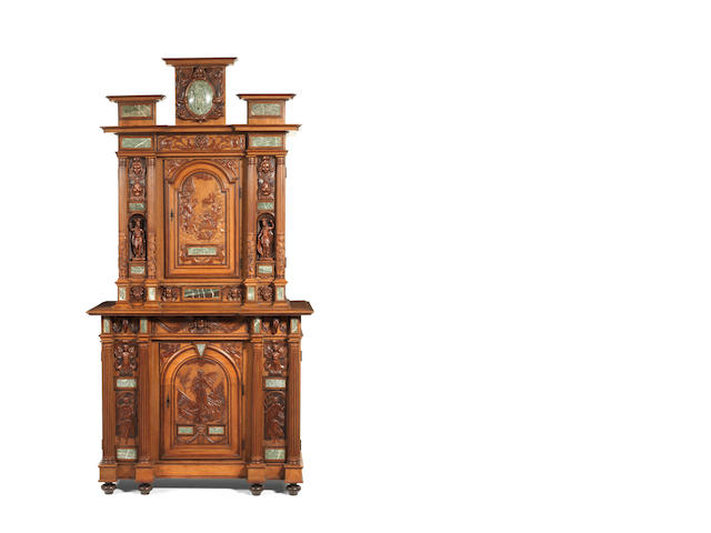 A French 19th century marble mounted oak and walnut breakfront cabinet in the manner of Sauvrezy