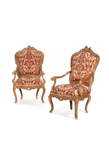 A pair of Venetian 18th century rococo walnut  armchairs