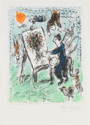 Marc Chagall (Russian/French, 1887-1985) Le Peintre Ailé Lithograph, printed in colours, 1984, on Arches, the full sheet, numbered 36/50 in pencil, with a stamped signature and publisher's blindstamp, 430 x 340mm (17 x 13 3/4in)(I)