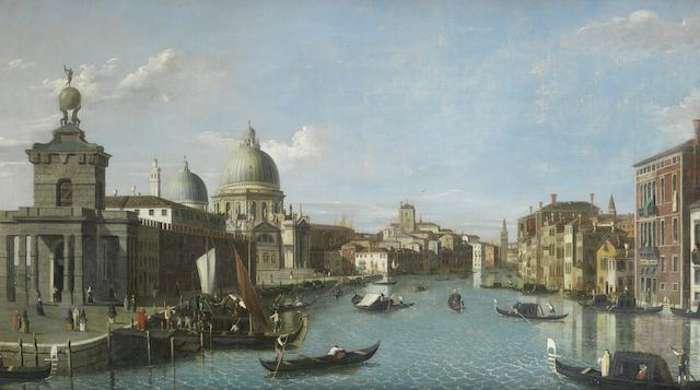 Follower of Antonio Canal, called il Canaletto (Venice 1697-1768) The Grand Canal, Venice with the Punta della Dogana and the Church of Santa Maria della Salute in the distance