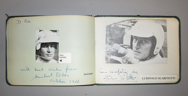 An autograph book of 1960s racing driver's signatures,