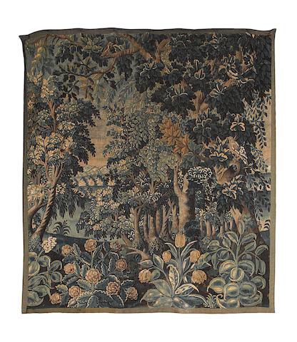 A 17th century Flemish verdure tapestry 210cm x 235cm