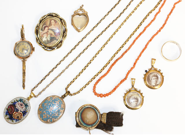 A collection of jewellery, comprising micromosaic pendant, heart locket, enamelled locket, pair of lockets, hairwork bracelet, watch, coral bracelet and wedding band
