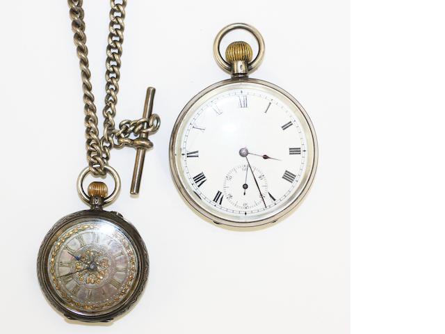 A gentleman's silver open face pocket watch import marks, London 1911