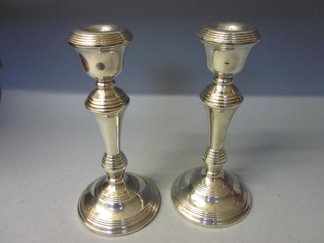 A pair of silver candlesticks, by Broadway and Co., Birmingham 1972  (2)