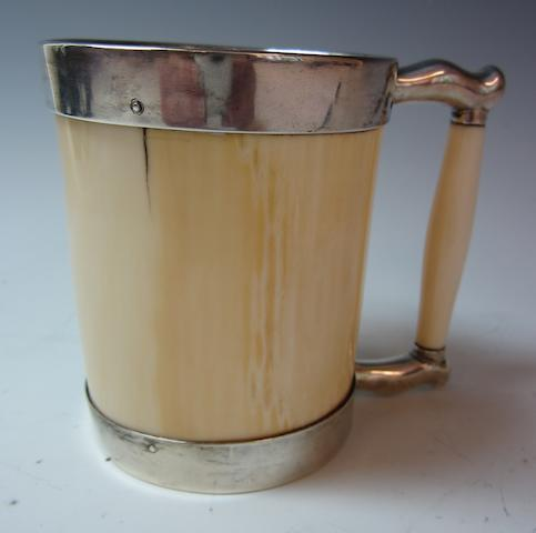 A Victorian ivory and silver mounted mug by J.R, Sheffield 1885