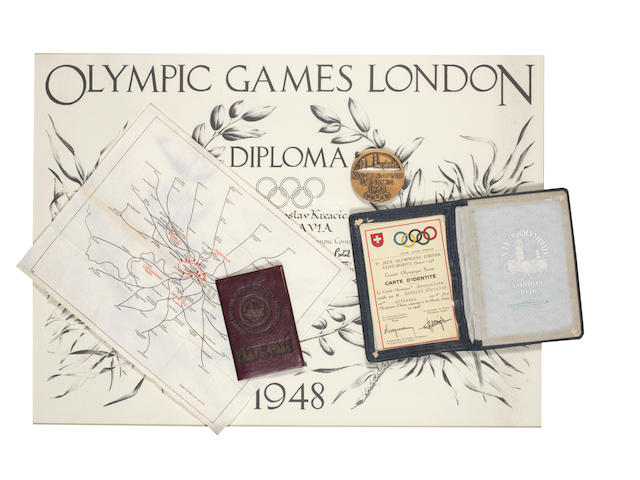 1948 London Olympics memorabilia relating to Yugoslavian Olympic official Mr Miroslav Kreacic