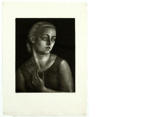 Dame Laura Knight R.A., R.W.S. (British, 1877-1970) A Southern Blonde mezzotint, signed in pencil, inscribed with title and numbered 39/75, 25 x 20cm, unframed.
