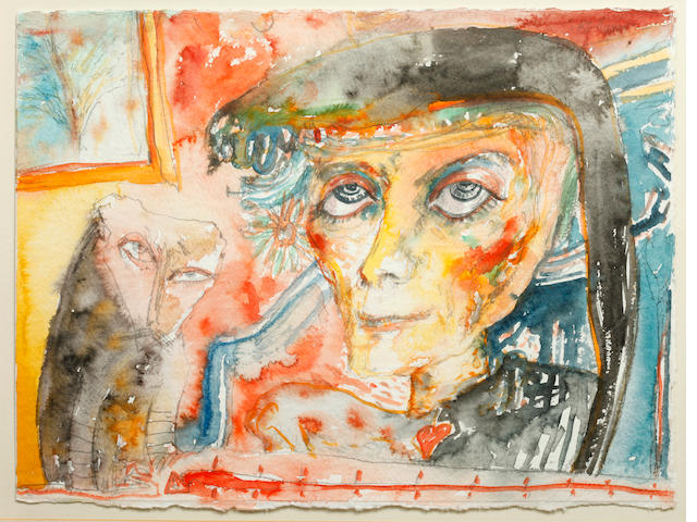 John Bellany, CBE RA HRSA LLD(Lon) (British, born 1942) 'Woman with pet'