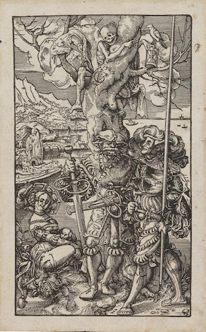 Urs Graf (Swiss, 1485-1527) Two mercenaries and a woman with Death in a tree Woodcut, 1542, on laid, with the monogram 'VG' and dagger and the date on the tree, 202 x 118mm (8 x 7 1/8in)(B) unframed