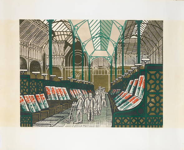 "Edward Bawden R.A. (British, 1903-1989) The Floral Hall, Covent Garden Linocut printed in colours, c.1967, on white cartridge, signed, titled and numbered and inscribed ""Artist's proof out of series 11/25"" in ballpoint pen, with wide margins, 660 x 810mm (26 x 32in) (SH) unframed"