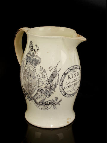 A rare royal commemorative creamware jug, circa 1770