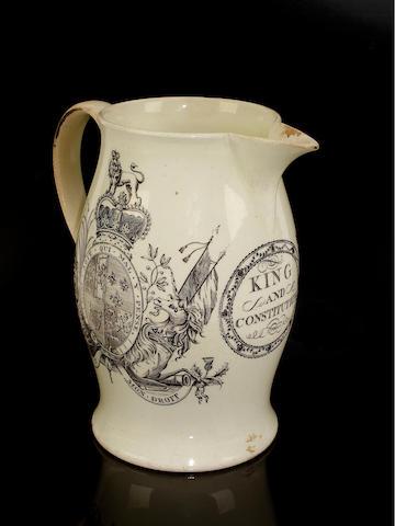 A rare royal commemorative creamware jug, circa 1770