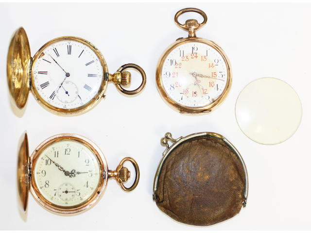 A lot of three gold pocket watches,