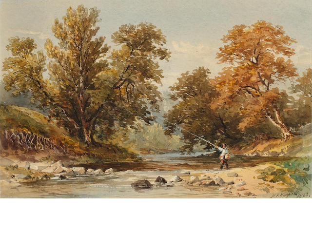 Henry Andrew Harper (British, 1835-1900) Fly Fishing in a mountainous landscape