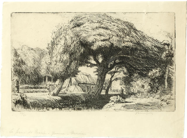 Adolphe Marie Timothé e Beaufrère (French, 1876-1960) La Ferme de Marie-Yvonne, Merrien etching, signed, numbered 10/40 and inscribed with title, in pencil, 140 x 230mm. (5 1/2 x 9 in.) (PL.) (unframed)