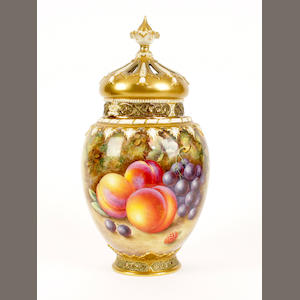 A Royal Worcester Painted Fruit pot pourri vase and two covers by Harry Ayrton, dated 1960