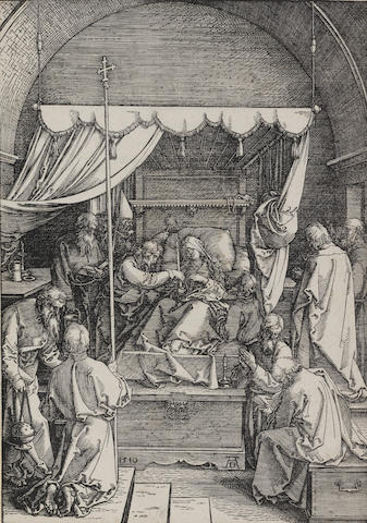 Albrecht Dürer (German, 1471-1528) Death of the Virgin Woodcut, 1510, a good impression with Latin text verso, on laid, trimmed close to the borderline, 297 x 205mm (11 7/8 x 8 1/8in)(B) unframed