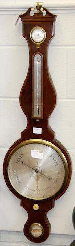 An early 19th Century mahogany banjo barometer, by G. Richardson of London,