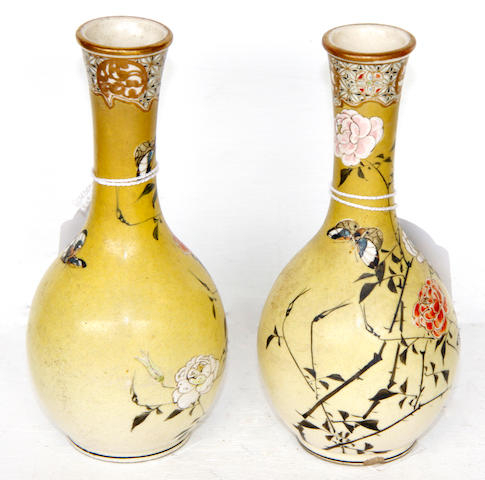 A pair of Japanese bottle vases,  Meiji period,