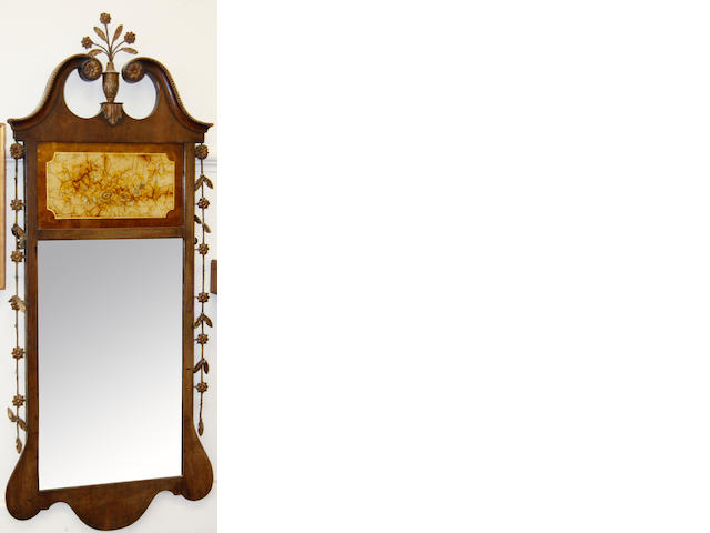 A Georgian style fret carved mahogany mirror,