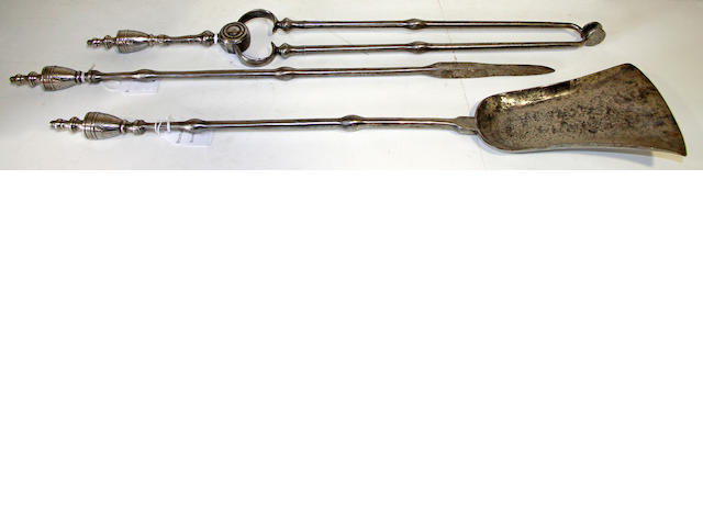 A set of three late 18th century steel fire tools