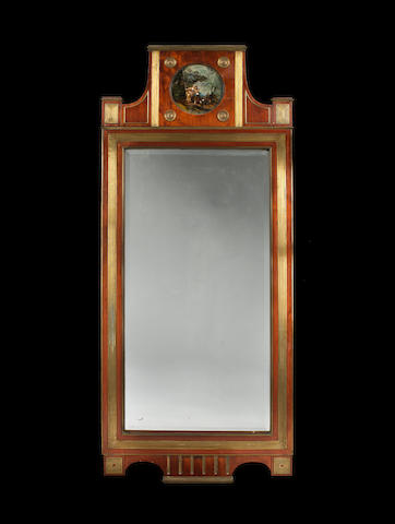 A pair of Russian 19th century brass-mounted mahogany pier mirrors
