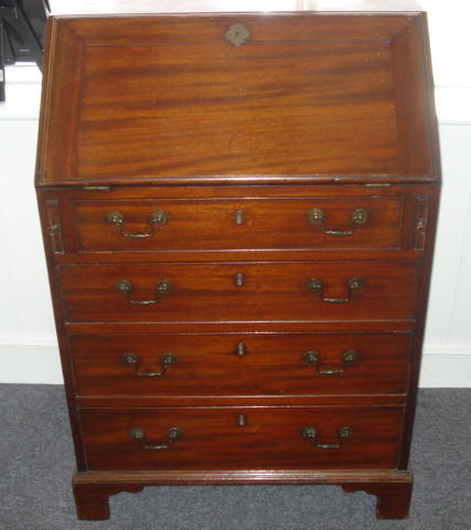 A George III style mahogany bureau