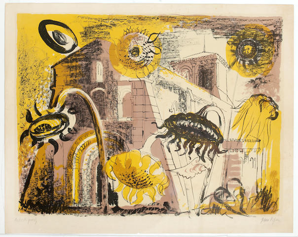 John Piper C.H. (British, 1903-1992) Sunflowers at Marignac Lithograph, 1956, printed in colours, signed and inscribed A/P in pencil, 480 x 608 mm. (18 7/8 x 23 7/8 in.) (unframed) and another coloured lithograph by the same hand of a church and skyline signed and numbered in pencil 5/75  (2)