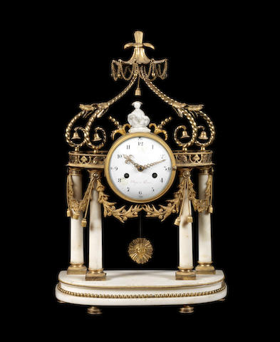 A French Louis XVI gilt-bronze and white marble mantel clock by Dégré, Paris