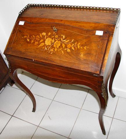 A 19th Century Louis XV style rosewood bureau de dame