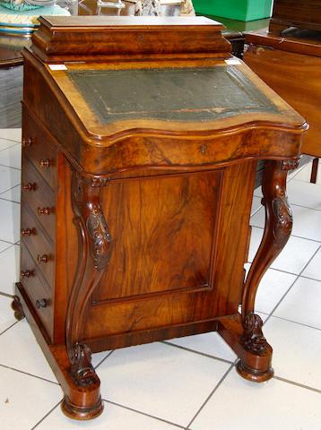 A mid-Victorian walnut davenport