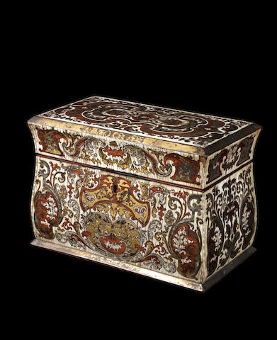A French late 17th century mother of pearl, engraved pewter and brass inlaid ivory and boxwood casket