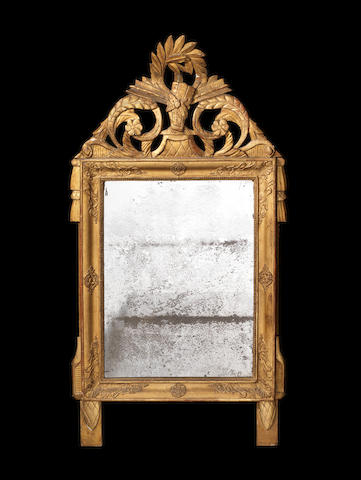 A French late 18th century Directoire giltwood mirror