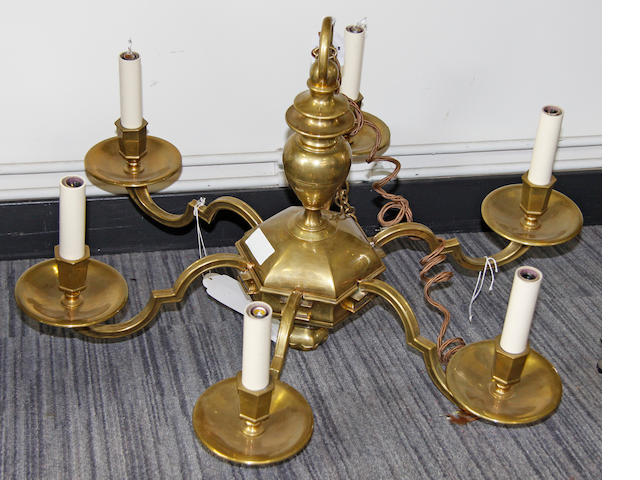 A 20th century brass six branch chandelier