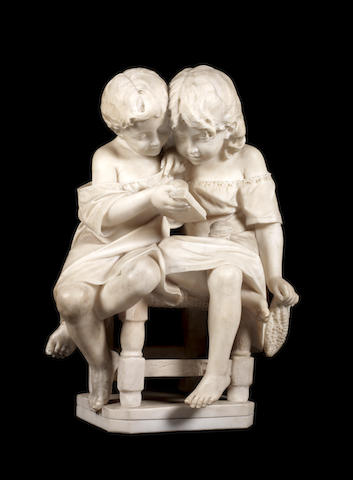 Emilio Fiaschi (Italian, 1858-1941) An alabaster group of two seated children reading a book