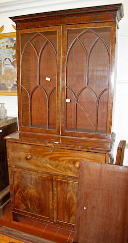 An early Victorian mahogany secretaire bookcase,