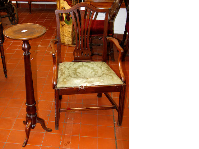 Three 19th Century dining chairs,and a tripod jardiniere stand (4)