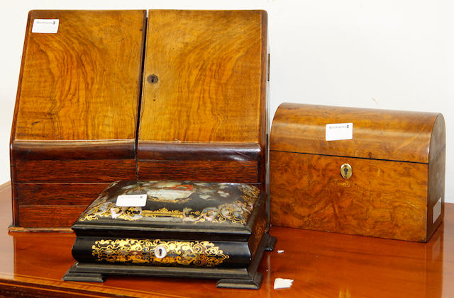 A Victorian black lacquered papier mache sewing box