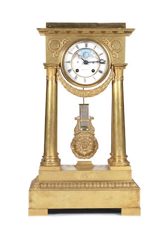 A French Restauration gilt-bronze portico clockby A. Brocot & Delettrez, Paris