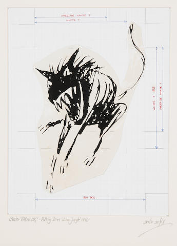 The Rolling Stones: 'Rabid Dog' artwork master for the 'Urban Jungle' tour, 1990,