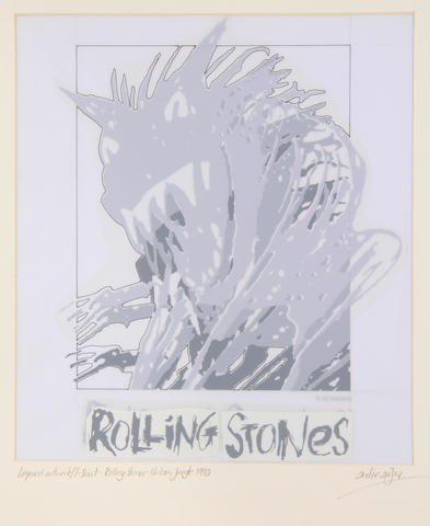 The Rolling Stones: 'Urban Jungle' original T-shirt layered artwork, 1990,
