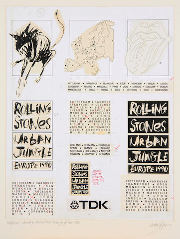 The Rolling Stones: artwork masterboard for the 'Urban Jungle' tour , 1990,