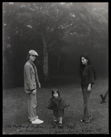 John Lennon & Yoko Ono: An autographed photo of the couple in a park with their son Sean,