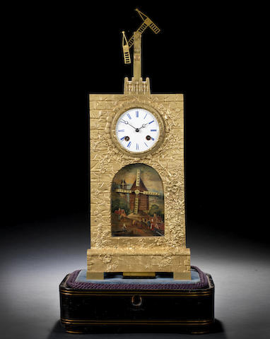 A very rare early 19th century French ormolu mantel clock with Chappe semaphore automata, under a later glass shade Chappe