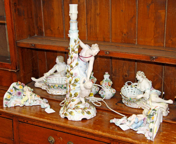 A pair of John Bevington figural sweetmeat dishes, a Dresden figural lampbase, a pair of figural wall brackets and a pair of vases and covers