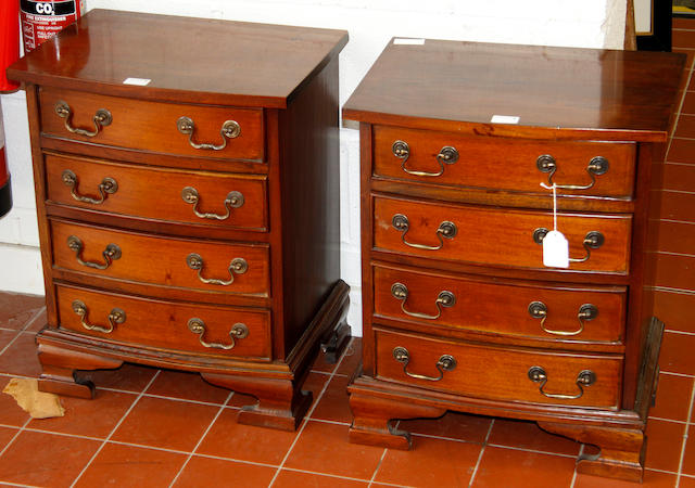 A pair of Georgian style mahogany bedside cabinets
